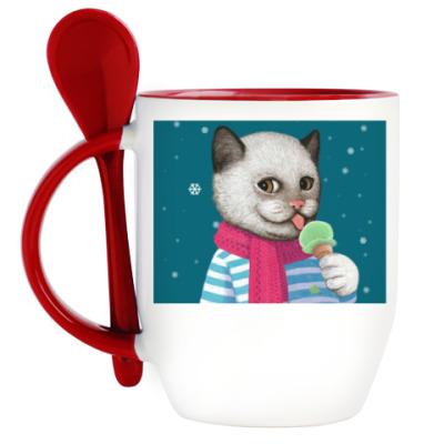 Кружка с ложкой Кот и мороженое