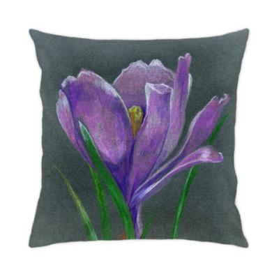 Подушка Ручной рисунок цветок крокус