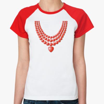 Женская футболка реглан Рубиновые бусы