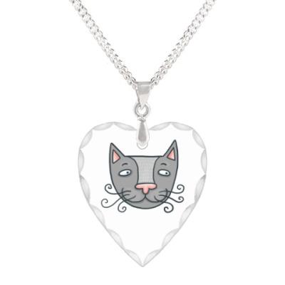 Кулон 'сердце' котик