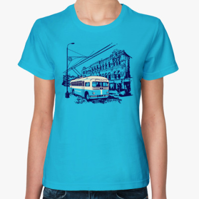 Женская футболка Трамвай