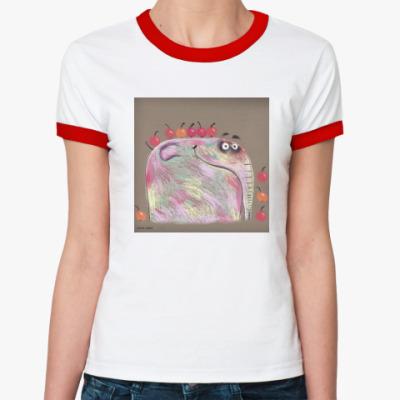 Женская футболка Ringer-T Яблочный слон