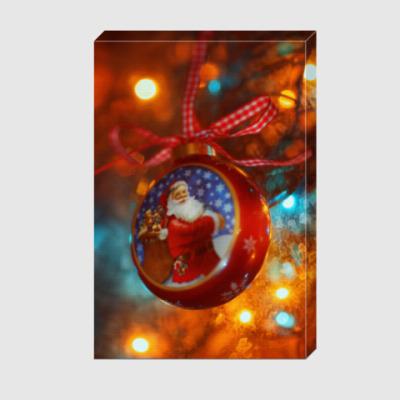 Холст Ёлочный шар Санта Клаус