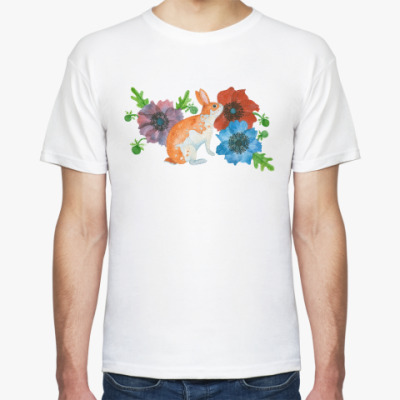 Футболка Кролик в цветах анемоны