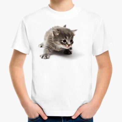 Детская футболка Любопытный котенок