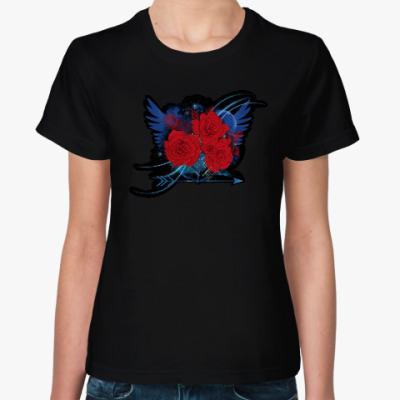 Женская футболка Красные розы и крылья