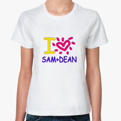 Классическая футболка Supernatural - Сэм и Дин