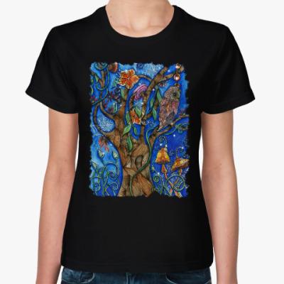 Женская футболка Сова в волшебном лесу