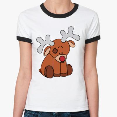 Женская футболка Ringer-T Новогодний олень Teddy