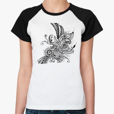 Женская футболка реглан Цветочная абстракция