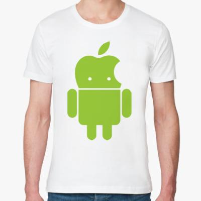 Футболка из органик-хлопка Андроид голова-яблоко