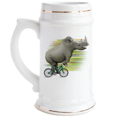 Пивная кружка Носорог на велосипеде