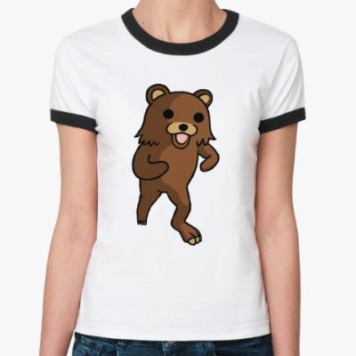 Женская футболка Ringer-T   pedobear