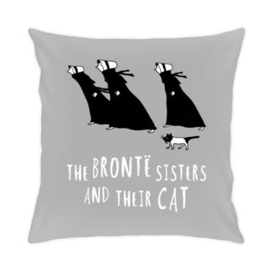 Подушка The Bronte Sisters and their cat