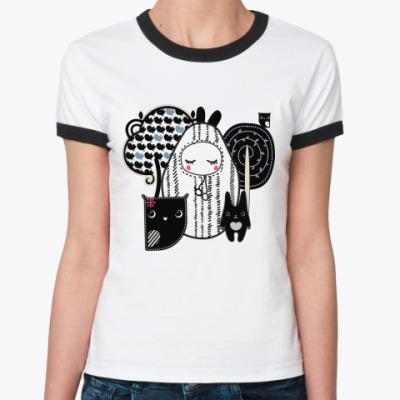 Женская футболка Ringer-T Лесные зверушки