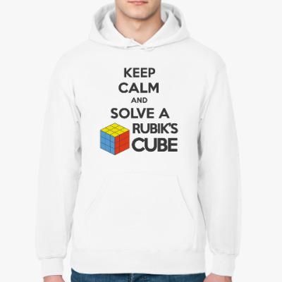 Толстовка худи Keep calm and Solve Rubiks Cube | Кубик Рубика
