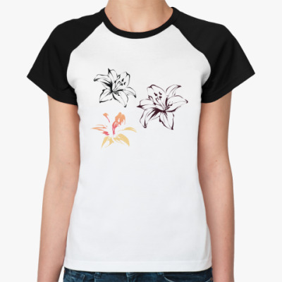 Женская футболка реглан лилии
