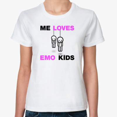 Классическая футболка  ME LOVES EMO KIDS