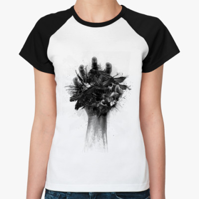 Женская футболка реглан   (бел/чёрн) Hand