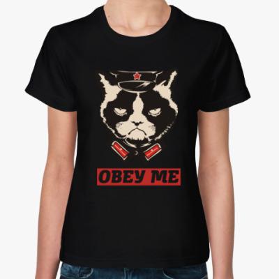 Женская футболка Obey the kitty