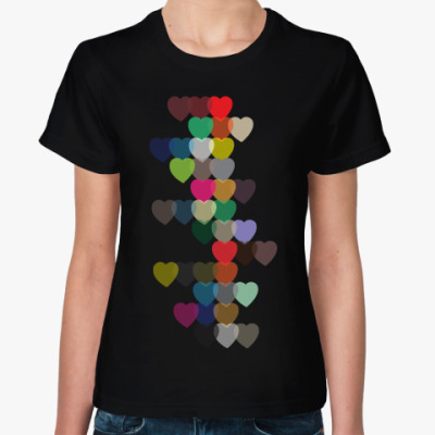Женская футболка Сердечки