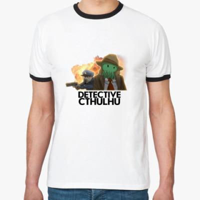 Футболка Ringer-T  «Detective Cthulhu»