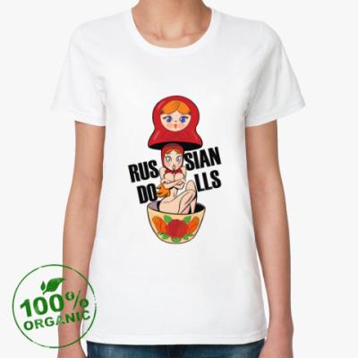 Женская футболка из органик-хлопка Russian dolls