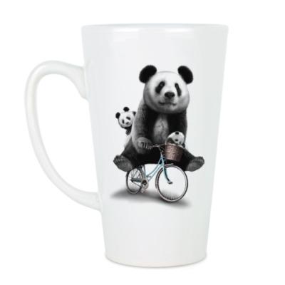 Чашка Латте Панды на велосипеде