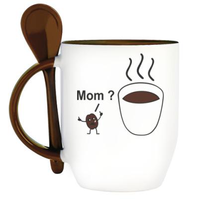 Кружка с ложкой Mom ? Мам?