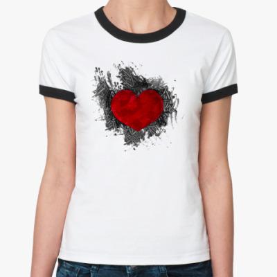 Женская футболка Ringer-T Сердце в краске