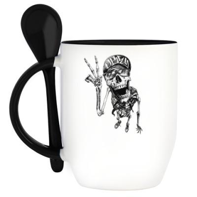 Кружка с ложкой Thrash-скелет