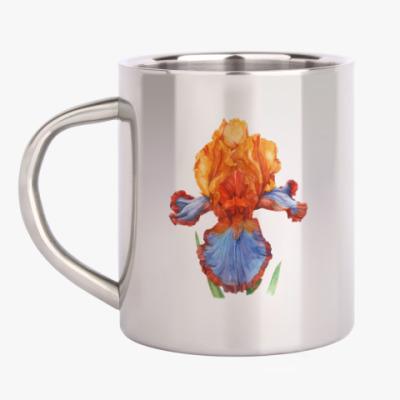Кружка металлическая Цветок ирис акварель