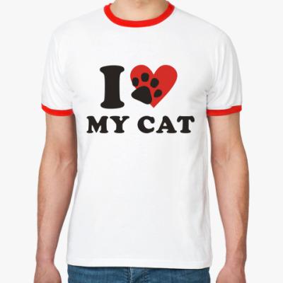 Футболка Ringer-T  Я люблю своего кота