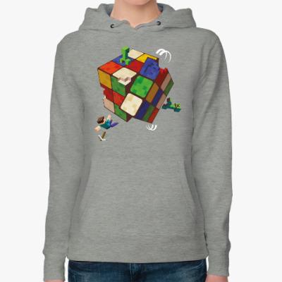 Женская толстовка худи Майнкрафт и кубик Рубика