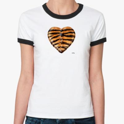 Женская футболка Ringer-T TigerHeart