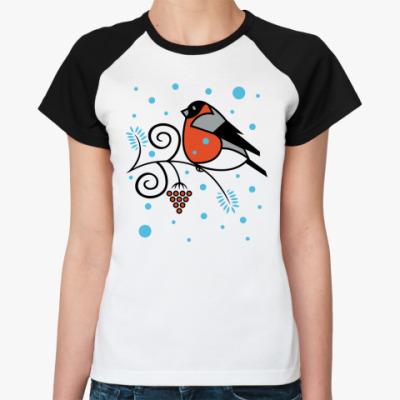 Женская футболка реглан Снегирь