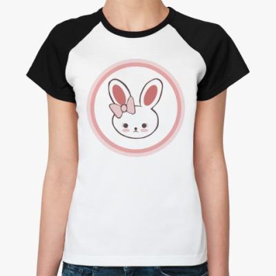 Женская футболка реглан Зайка для влюблённых