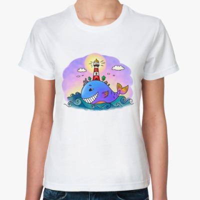 Классическая футболка «Кит и маяк»