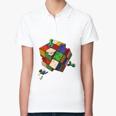 Женская рубашка поло Майнкрафт и кубик Рубика