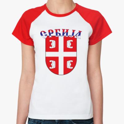 Женская футболка реглан Сербский щит