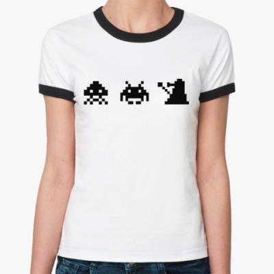 Женская футболка Ringer-T Dalek & Space Invaders