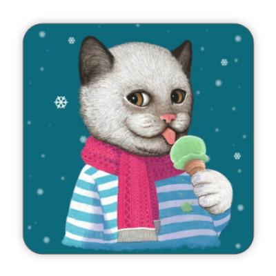 Костер (подставка под кружку) Кот и мороженое