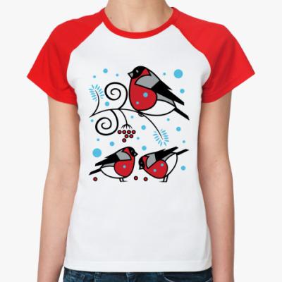 Женская футболка реглан Снегири