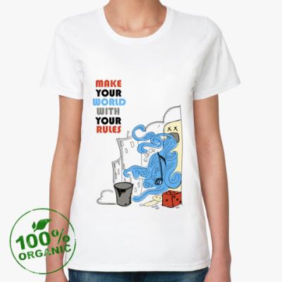 Женская футболка из органик-хлопка  'Make Your World'