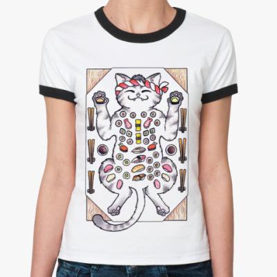 Женская футболка Ringer-T Sushi & Cat  Ж()