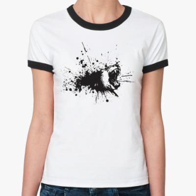 Женская футболка Ringer-T Злой медведь