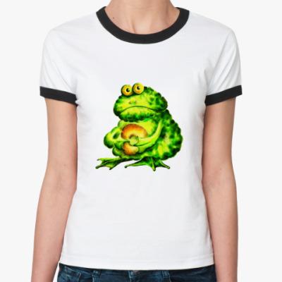 Женская футболка Ringer-T 'Это МОЙ бублик!!!'