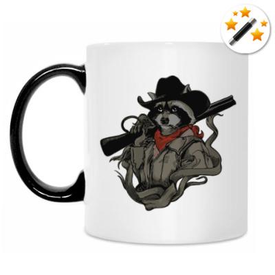 Кружка-хамелеон Енот с ружьём