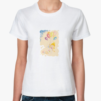 Классическая футболка  Ангел на шариках ж.