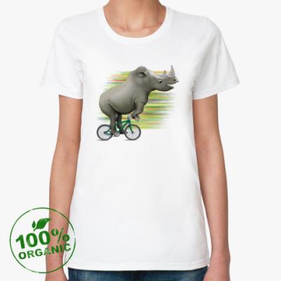 Женская футболка из органик-хлопка Носорог на велосипеде